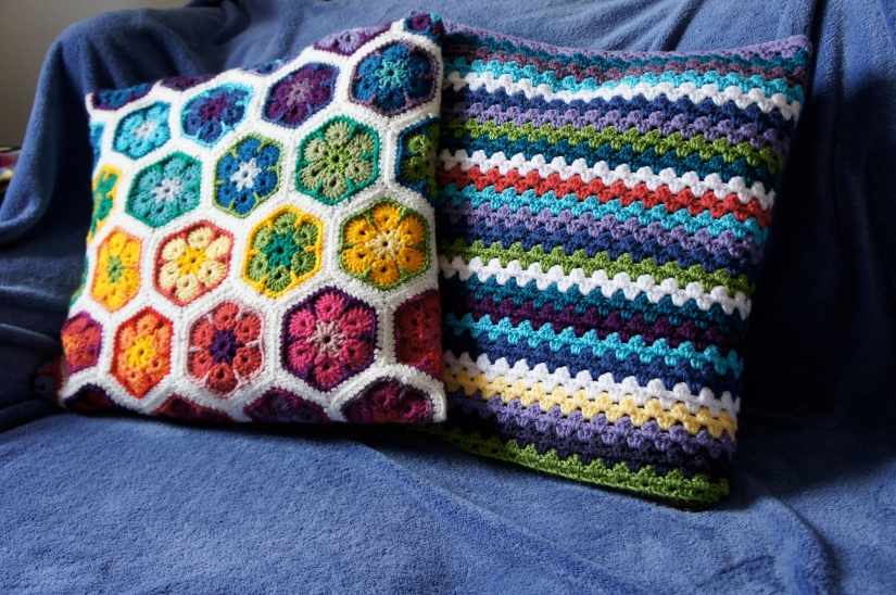 African Flower and Granny Stripe Pillows