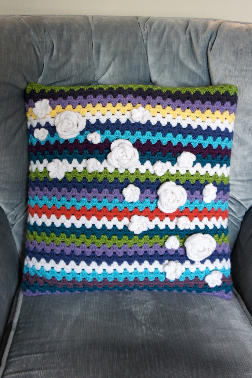 Flower Granny Stripe Pillow