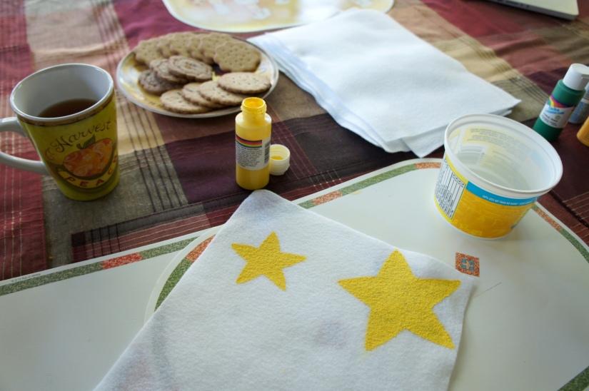 Painting stars on felt