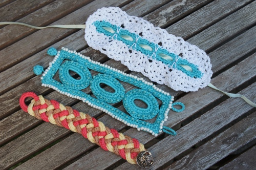 Three Beaded Crocheted Bracelets