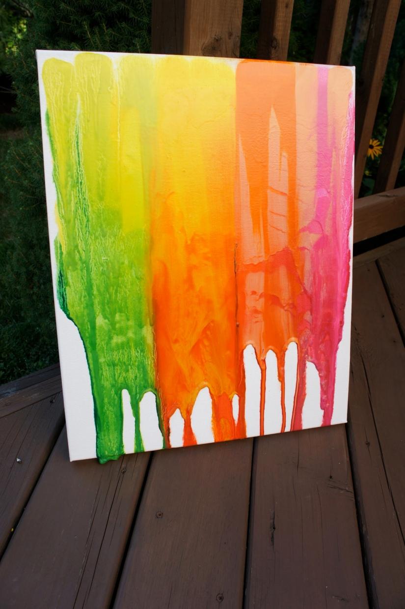Rainbow Melted Crayon Art