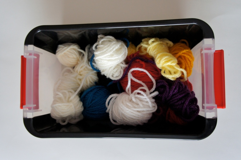 Yarn Bits in Tupperware