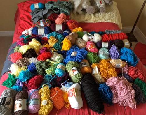 Yarn Stash on Bed